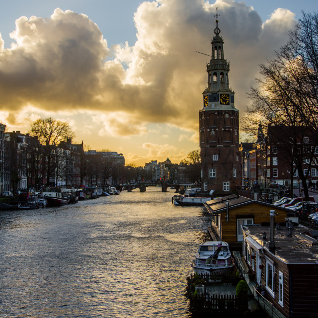 """""""Evening view of the tower Montelbaan"""" stock image"""