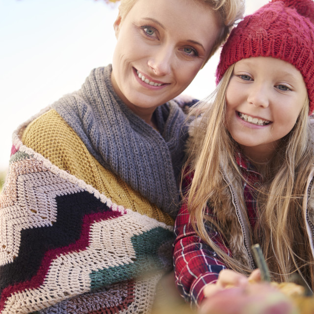 """""""Portrait of beautiful mother and cute girl"""" stock image"""