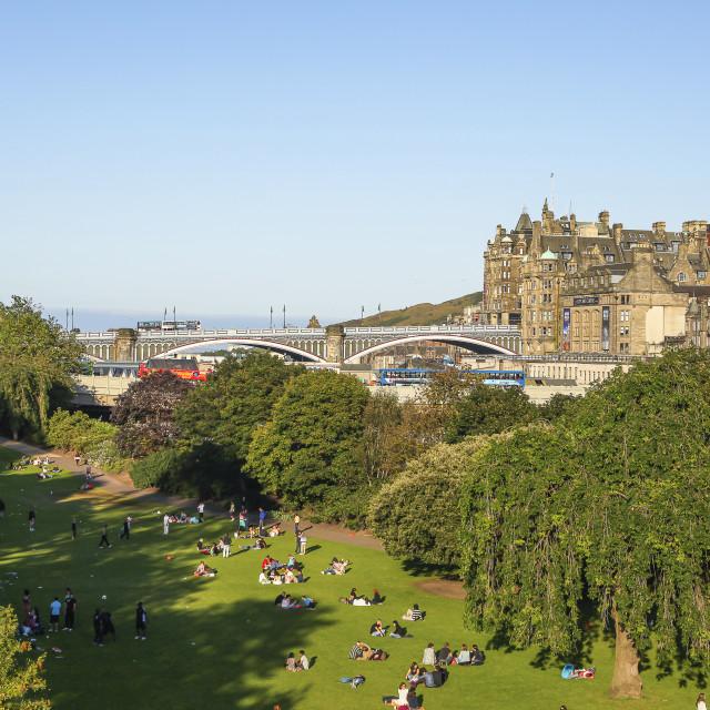 """""""View on Edinburgh with Princess Street Gardens"""" stock image"""