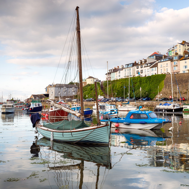 """""""Boats in the harbour at Brixham"""" stock image"""