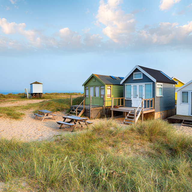 """Mudeford Spit Beach Huts"" stock image"