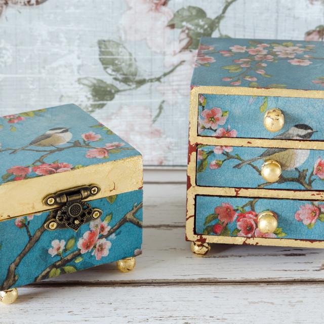 """Handmade Trinket Boxes"" stock image"