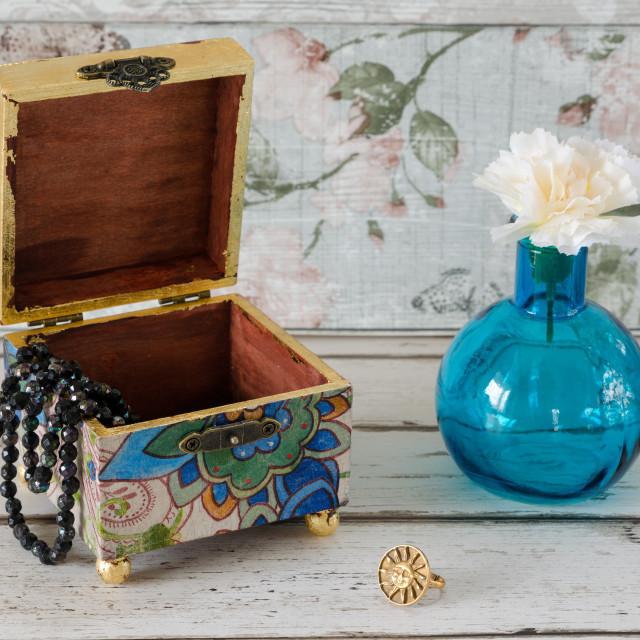 """Decoupage Trinket Box"" stock image"