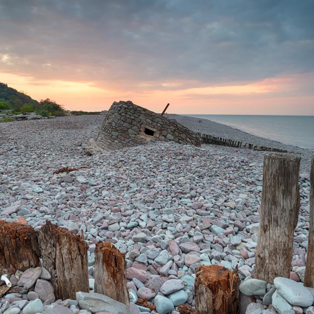 """Stunning Sunset over Porlock Weir"" stock image"