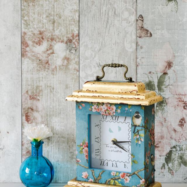 """Gilded Decoupaged Clock"" stock image"