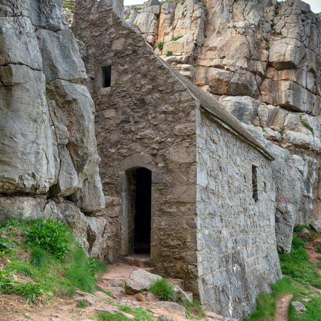 """St Govan's Chapel in Wales"" stock image"