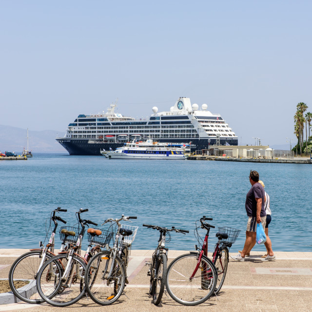 """Large Cruise Ship leaving Kos Harbour, Greece"" stock image"