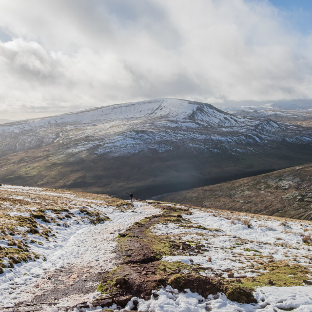 """Hiking at Pont Ar Daf, Pen Y Fan, Brecon Beacons, Wales"" stock image"
