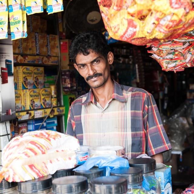 """Shopkeeper, Sri Lanka"" stock image"