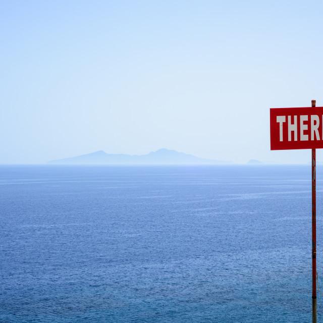 """Therma Beach Signpost, Kos, Greece"" stock image"