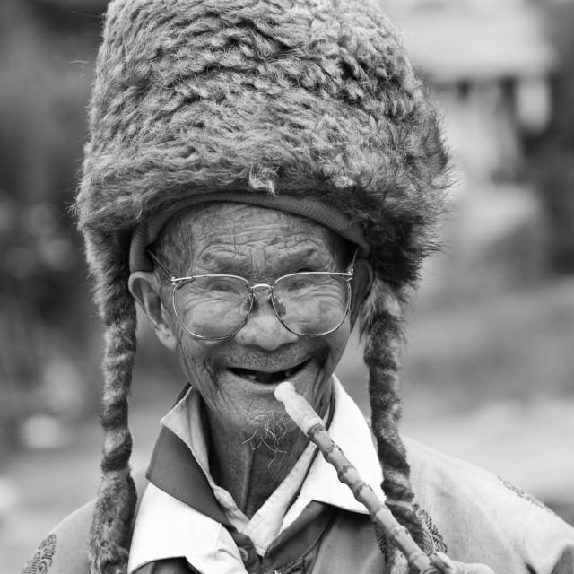 """A grinning senior Chinese man smoking a pipe"" stock image"