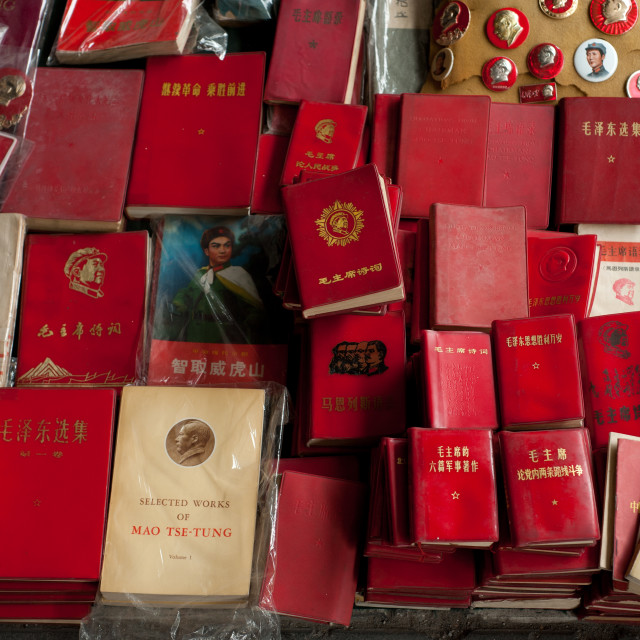 """""""A selection of 'Chairman Mao's Little Red Books' and other publications"""" stock image"""