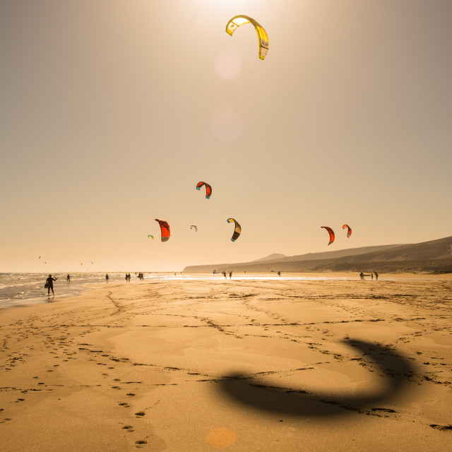 """Kite Surfers on Sotavento Beach Late in the Day - Fuerteventura, Spain"" stock image"