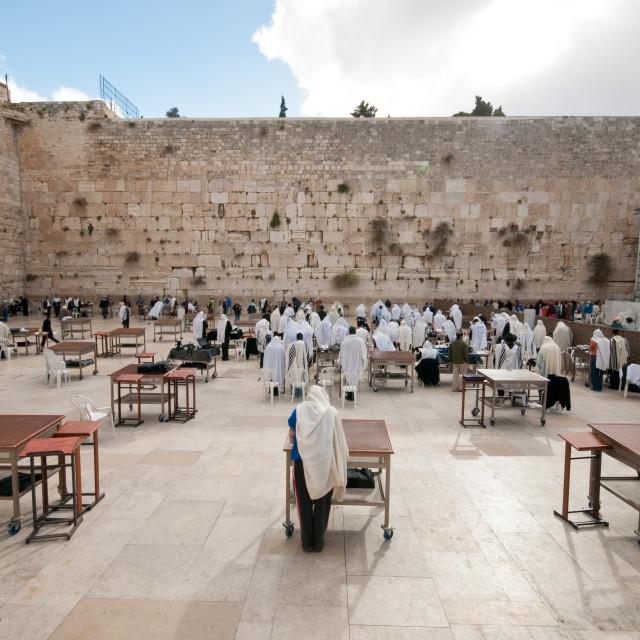 """Worshippers, Western Wall, Jerusalem, Israel"" stock image"