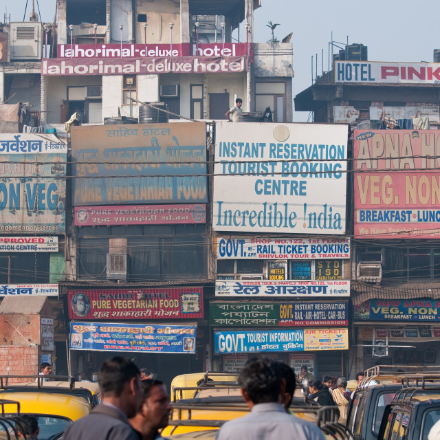 """Advertising hoardings outside New Delhi train station, India"" stock image"