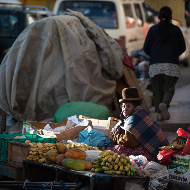 """Selling fruit on the pavement, La Paz, Bolivia"" stock image"