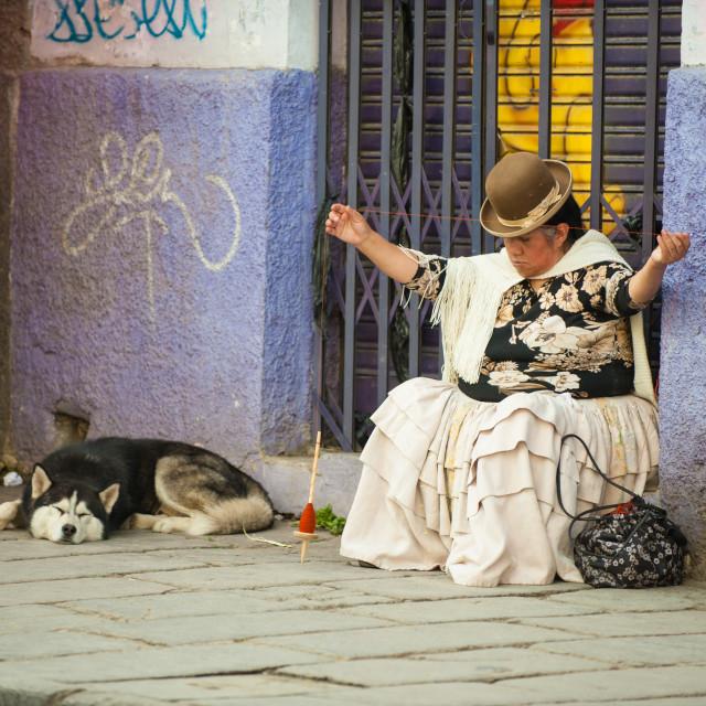 """Wool spinning, La Paz, Bolivia"" stock image"