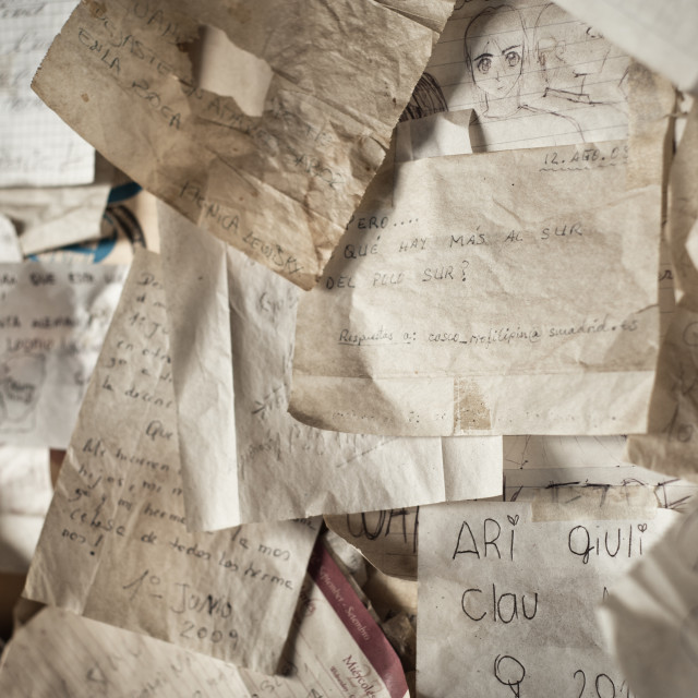 """Notes on a wall, Cordoba, Argentina"" stock image"