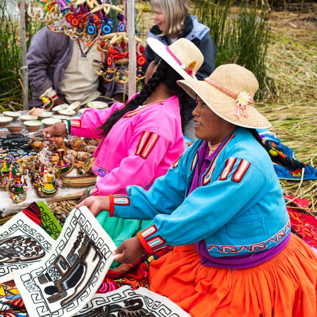 """""""Locals selling their wares, Lake Titticaca, Peru"""" stock image"""
