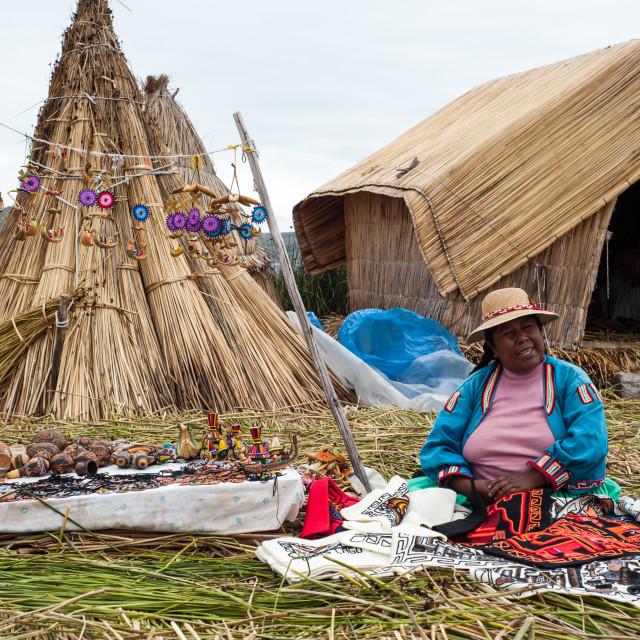 """""""Peruvian women selling her wares, Lake Titticaca, Peru"""" stock image"""