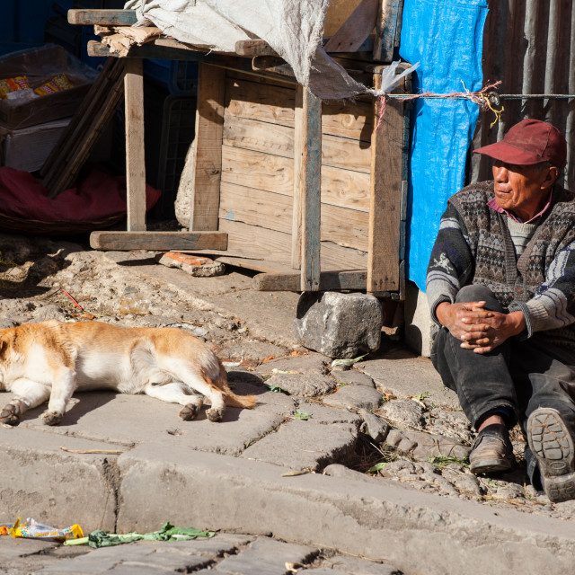 """Sitting in the sun, La Paz, Bolivia"" stock image"