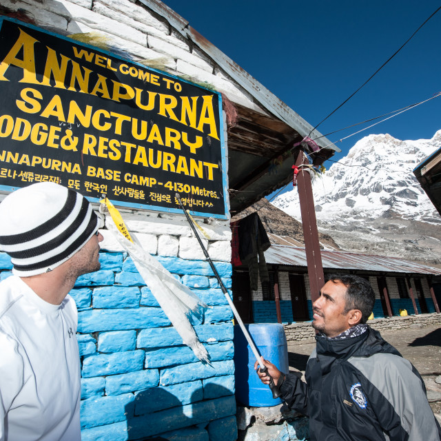 """Welcome to Annapurna Basecamp, Himalayas, Nepal"" stock image"