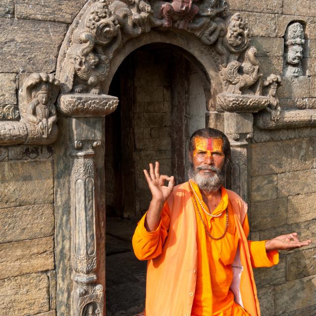 """""""Holy Man, Pashupatinath, Kathmandhu, Nepal"""" stock image"""