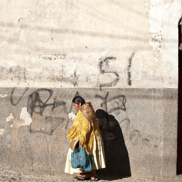 """Walking in sunshine, La Paz, Bolivia"" stock image"