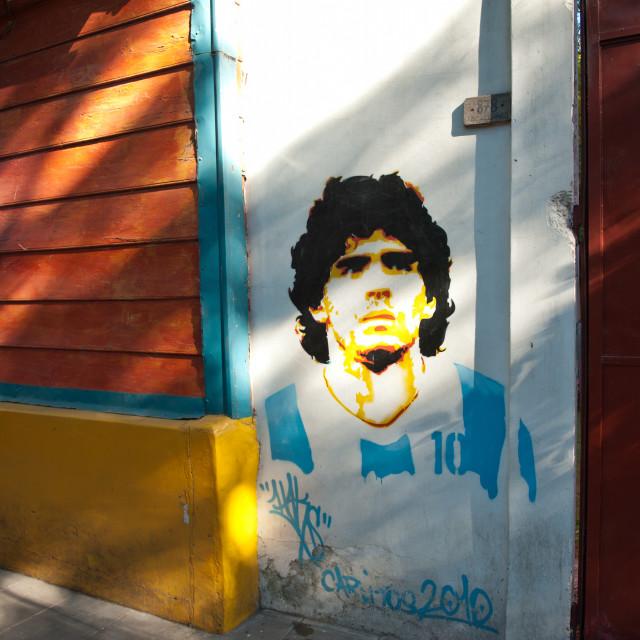 """""""Diego Maradona, Street Art, Argentina, Caminito, South America"""" stock image"""