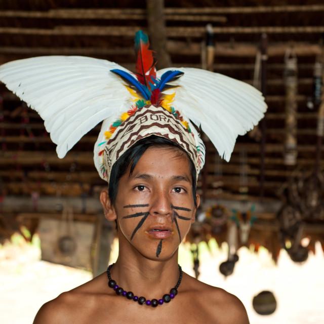"""Young Bora Tribesman, Iquitos, Peru, South America"" stock image"