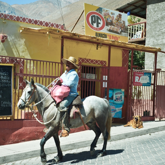 """Man on horseback, Pisco Elqui, Chile, South America"" stock image"