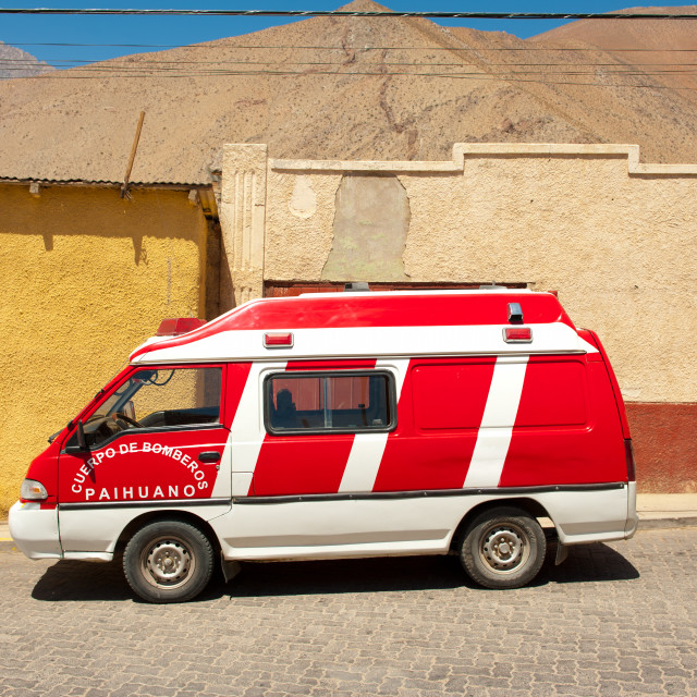 """Firefighter van, Pisco Elqui, Chile, South America"" stock image"