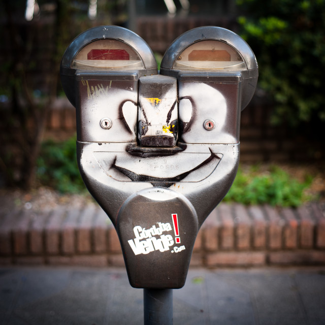 """""""Mickey Mouse parking meter, Cordoba, South America"""" stock image"""