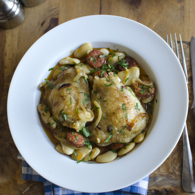 """""""Chicken with butter beans"""" stock image"""
