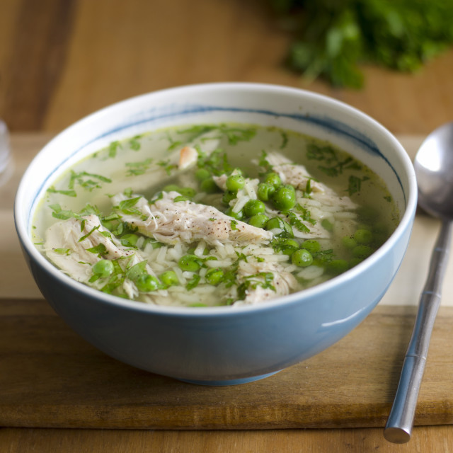"""""""Chicken and pea broth"""" stock image"""