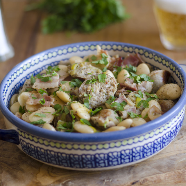 """""""Sausage and bean casserole"""" stock image"""
