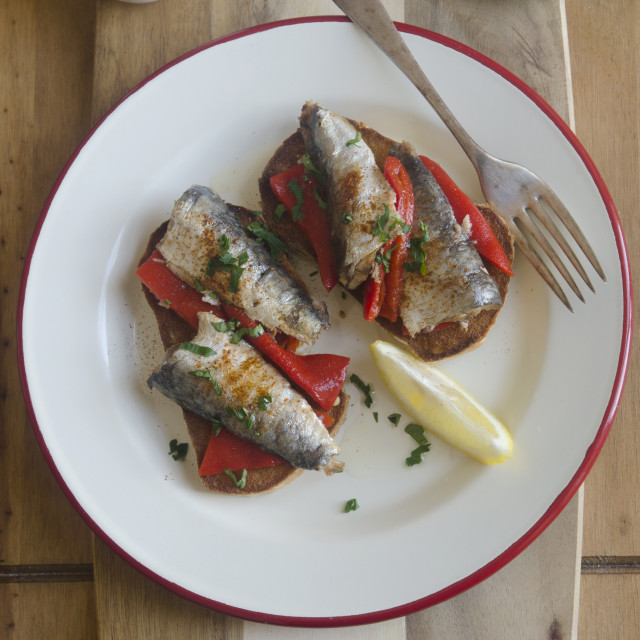 """Sardines on toast"" stock image"