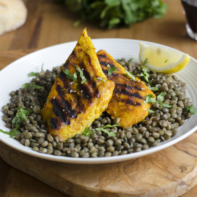 """Chicken with lentils"" stock image"