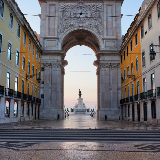 """Rua Augusta Arch at Dawn in Lisbon"" stock image"