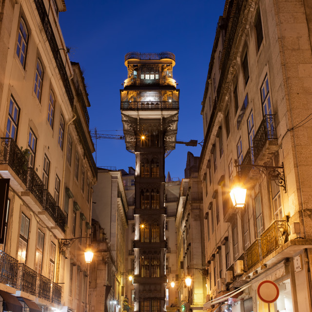 """Santa Justa Lift at Night"" stock image"