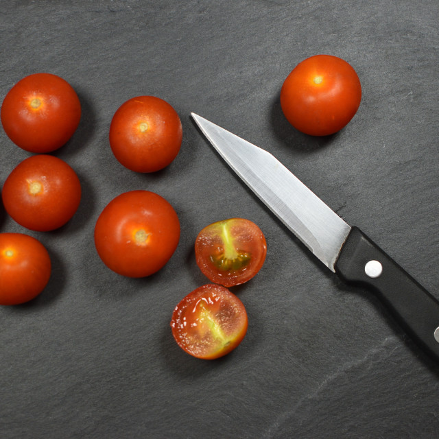 """Preparation Of Tomatoes"" stock image"