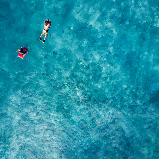"""Aerial view of Body board surfers"" stock image"