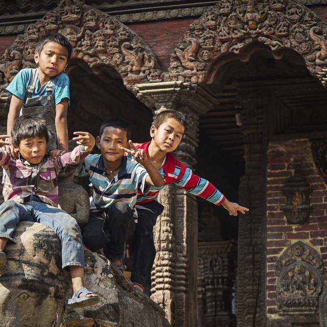 """Children of Patan"" stock image"