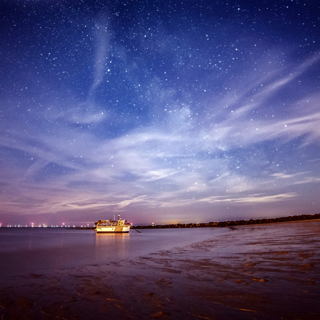 """Midnight beach Star Sky"" stock image"
