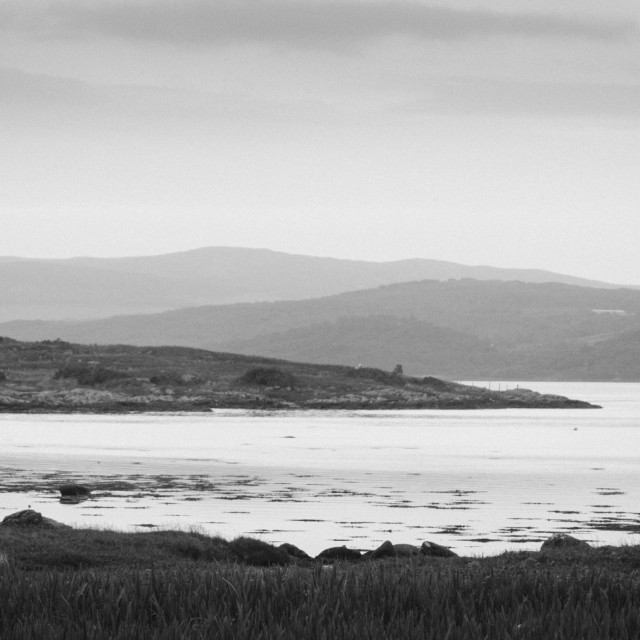 """Rain on Achadh-Chaorann Bay"" stock image"