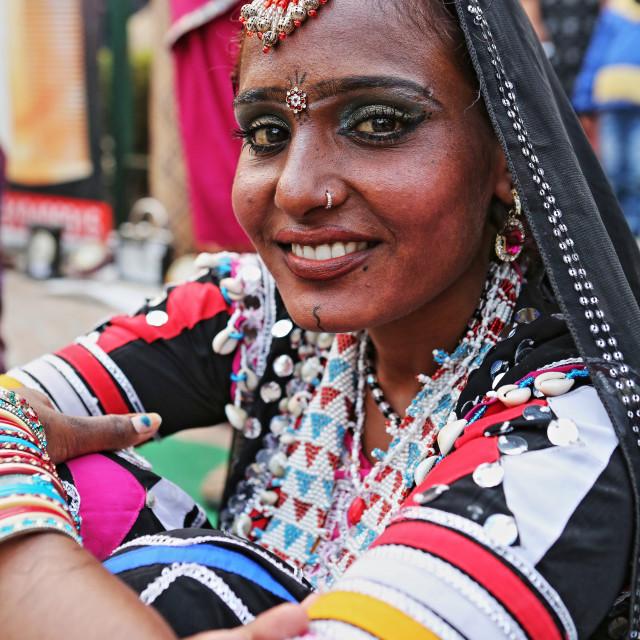 """PORTRAIT OF A KALBELIA TRIBAL DANCER, AJMER, RAJASTHAN, INDIA"" stock image"