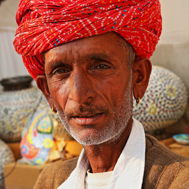 """PORTRAIT OF A OLD MAN FROM JODHPUR, RAJASTHAN, INDIA"" stock image"