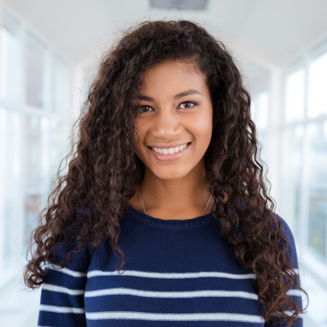 """""""Portrait of a happy afro american woman"""" stock image"""