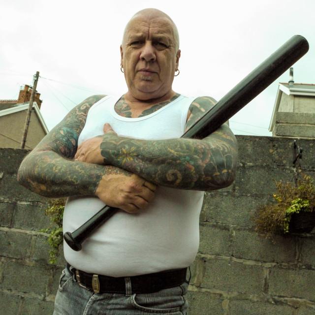"""Intimidating Tattooed Man"" stock image"