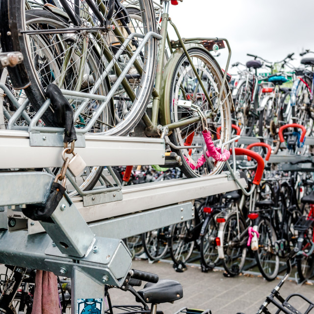 """""""Bicycle parking in Eindhoven Central Station"""" stock image"""